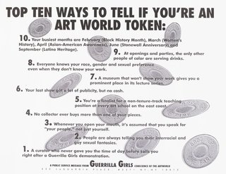 AGNSW collection Guerrilla Girls Top ten signs that you're an artworld token 1995