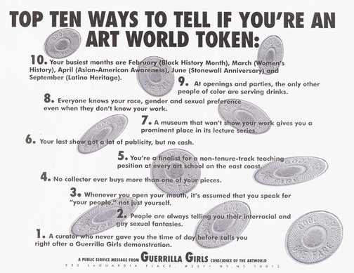 An image of Top ten signs that you're an artworld token by Guerrilla Girls