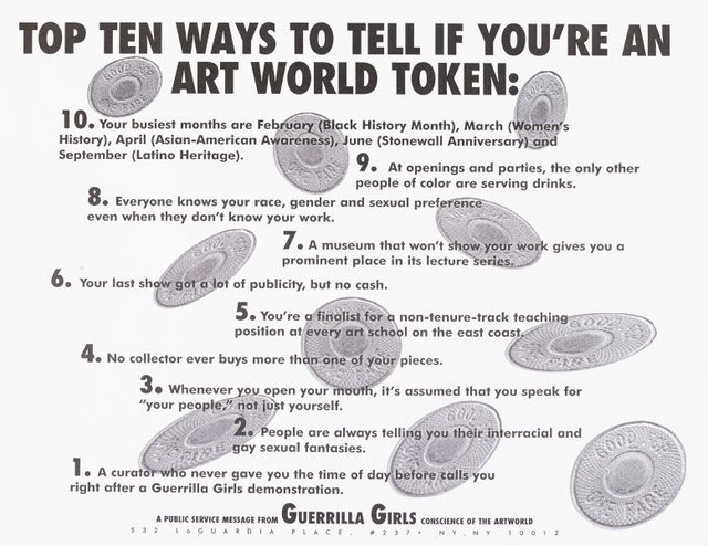 Top ten signs that you're an artworld token, (1995), Portfolio Compleat 1985-2012 by Guerrilla Girls