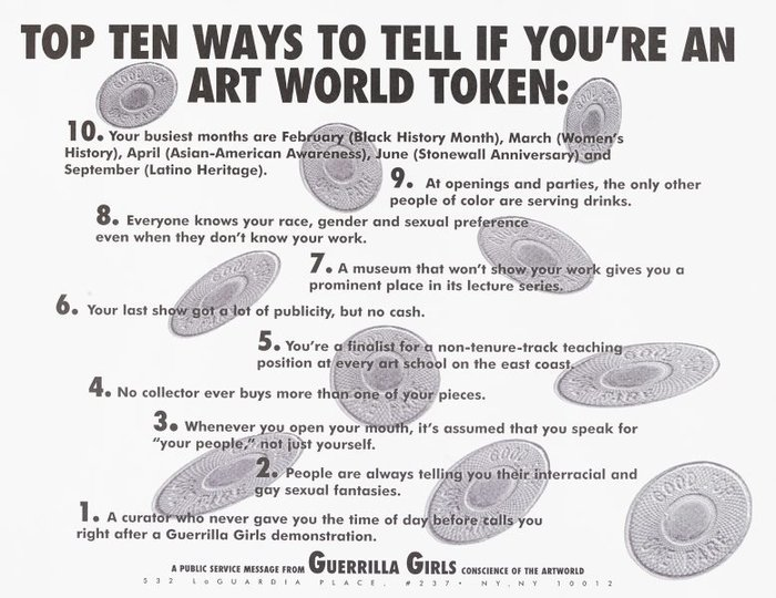 AGNSW collection Guerrilla Girls Top ten signs that you're an artworld token (1995) 150.2014.48