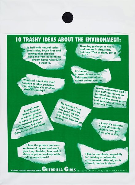 An image of 10 trashy ideas about the environment by Guerrilla Girls