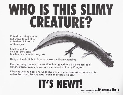 An image of Who is this slimy creature? by Guerrilla Girls
