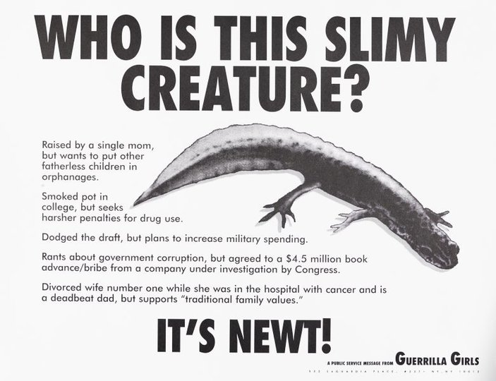 AGNSW collection Guerrilla Girls Who is this slimy creature? (1995) 150.2014.52