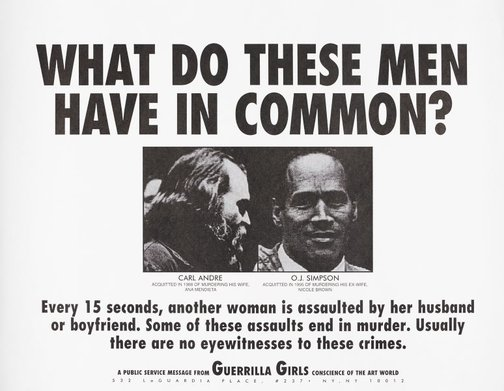 An image of What do these men have in common? by Guerrilla Girls