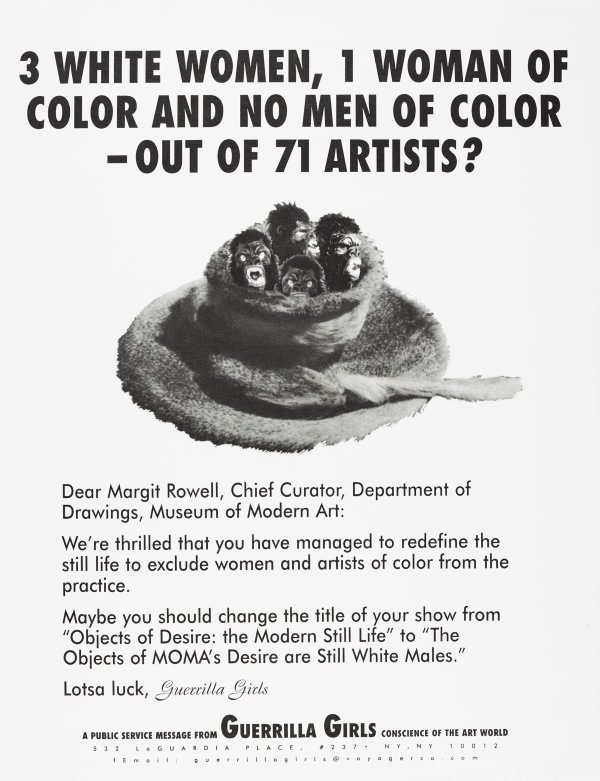 3 white women, 1 woman of color and no men of color - out of 71 artists?, (1997), Portfolio Compleat 1985-2012 by Guerrilla Girls