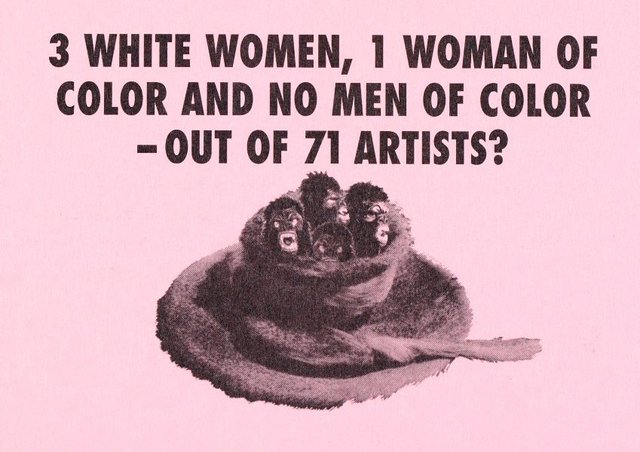 An image of 3 white women, 1 woman of color and no men of color - out of 71 artists?