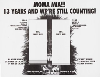 AGNSW collection Guerrilla Girls MoMA Mia!!! 13 years and we're still counting, with postcard sent to MoMA 1997