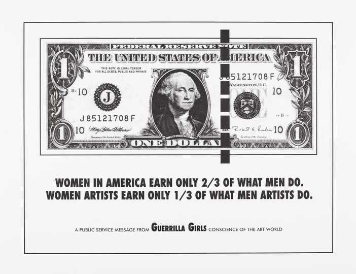 AGNSW collection Guerrilla Girls Women in America earn only 2/3 of what men do (1985) 150.2014.6