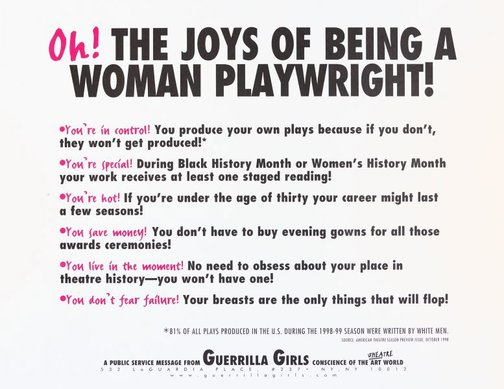 An image of Oh! The joys of being a woman playwright! by Guerrilla Girls