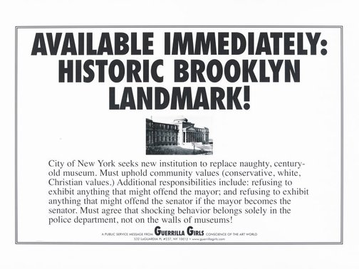 An image of Brooklyn landmark by Guerrilla Girls