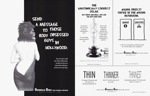 An image of Send a message to those body-obsessed guys in Hollywood (project for 'Bitch') by Guerrilla Girls