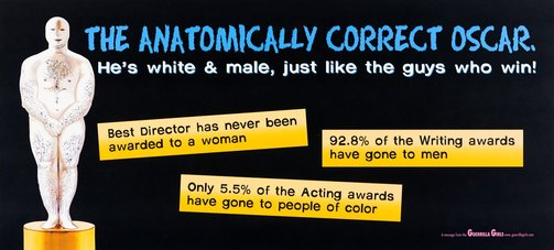 An image of Anatomically correct Oscar billboard by Guerrilla Girls