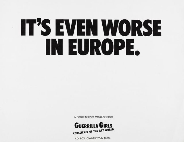 It's even worse in Europe, (1986), Portfolio Compleat 1985-2012 by Guerrilla Girls