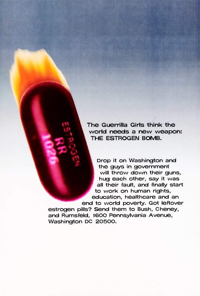 Estrogen Bomb, (2003), Portfolio Compleat 1985-2012 by Guerrilla Girls