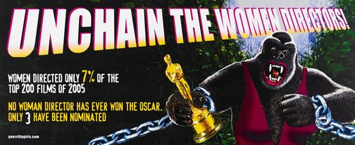 An image of Unchain the women directors billboard by Guerrilla Girls