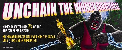An image of Unchain the women directors billboard by Guerrilla Girls