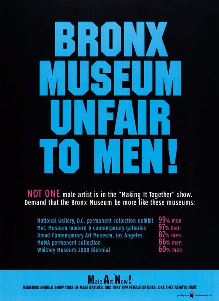 An image of Bronx Museum unfair to men by Guerrilla Girls