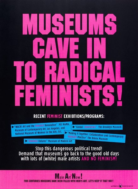 An image of Museums cave in to radical Feminists by Guerrilla Girls
