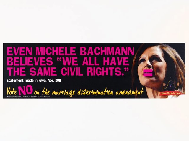 "Even Michele Bachmann believes ""We all have the same civil rights"" (billboard project), (2012), Portfolio Compleat 1985-2012 by Guerrilla Girls"