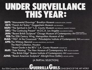 AGNSW collection Guerrilla Girls Under surveillance this year 1986