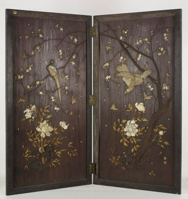 An image of Folded wooden screen with inlaid decoration