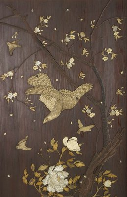 Alternate image of Folded wooden screen with inlaid decoration by Meiji export ware