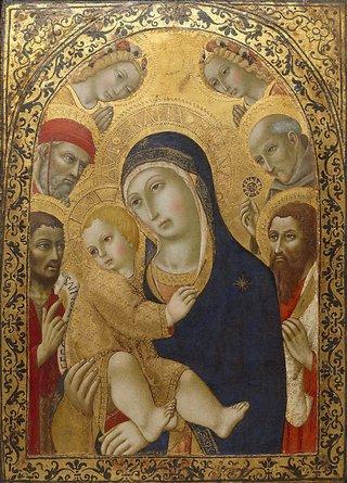 AGNSW collection Sano di Pietro Madonna and Child with Saints Jerome, John the Baptist, Bernardino and Bartholomew 1450-1481