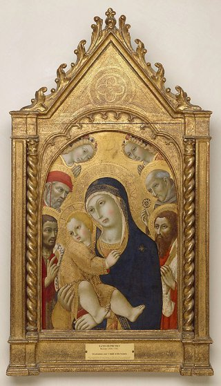 AGNSW collection Sano di Pietro Madonna and Child with Saints Jerome, John the Baptist, Bernardino and Bartholomew (1450-1481) 151.1971