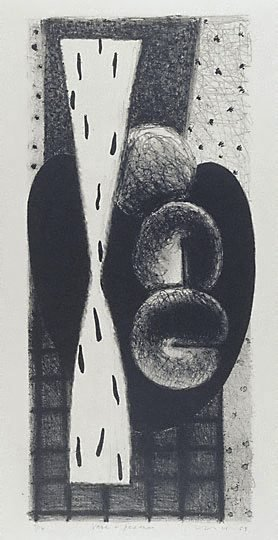 An image of Vase and peaches by Kevin Lincoln