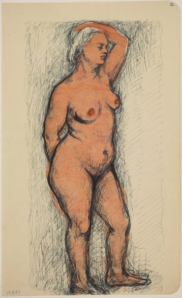 An image of Studies of the nude (Standing female nude, left arm raised) by James Gleeson
