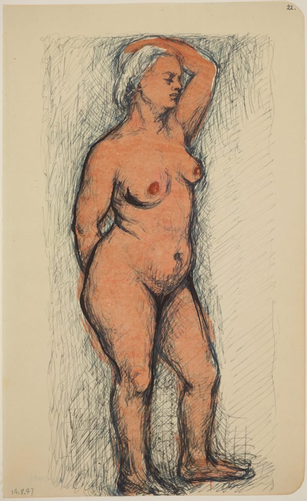 An image of Studies of the nude (Standing female nude, left arm raised)