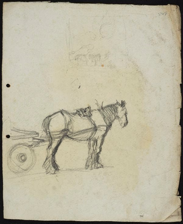 An image of recto: Cart horse verso: Horse and dray