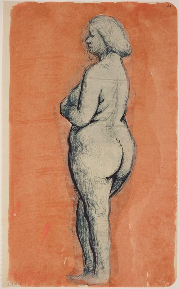 An image of Studies of the nude (Standing female nude, side view)