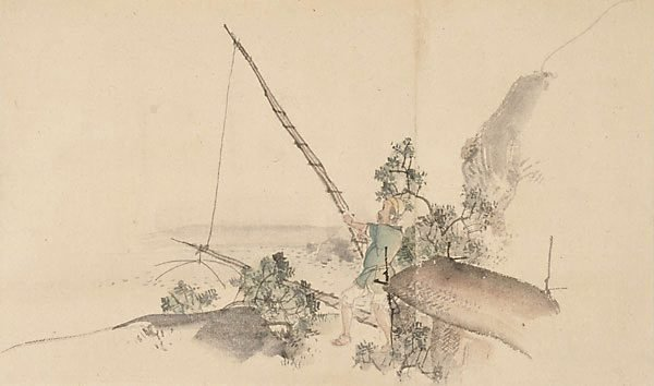An image of (Landscape with fisherman on river bank)