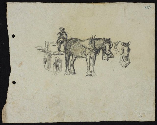 An image of Horse with man in dray