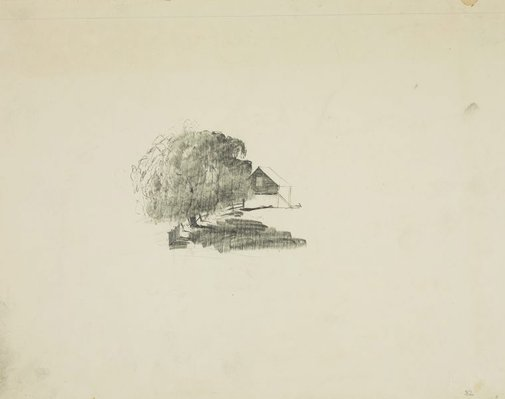 An image of Shed and tree by Lloyd Rees