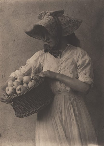An image of Girl with apples by Frederick A Joyner