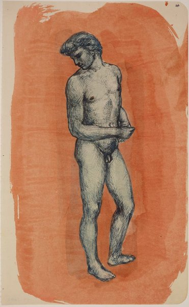 An image of Studies of the nude (Standing male nude) by James Gleeson