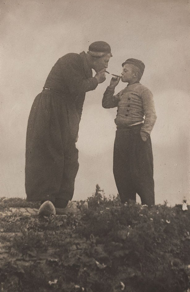 An image of Untitled (Dutch man and boy smoking)