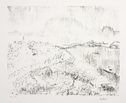 An image of Untitled (The Derwent, towards the Tasman Bridge, Hobart) by Lloyd Rees