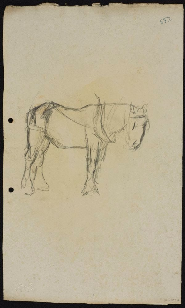 An image of recto: Two work horses verso: Work horse