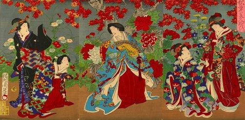 An image of Beauties and flowers by Toyohara (Yōshū) Chikanobu