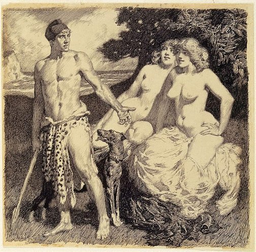 An image of The Greek hunter by Norman Lindsay
