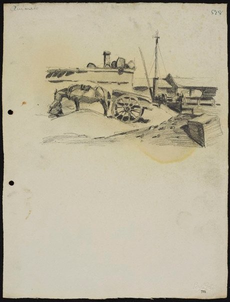 An image of Horse and cart waiting in a goods yard by Lloyd Rees