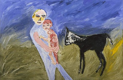 An image of Josephine and self with calf by Davida Allen