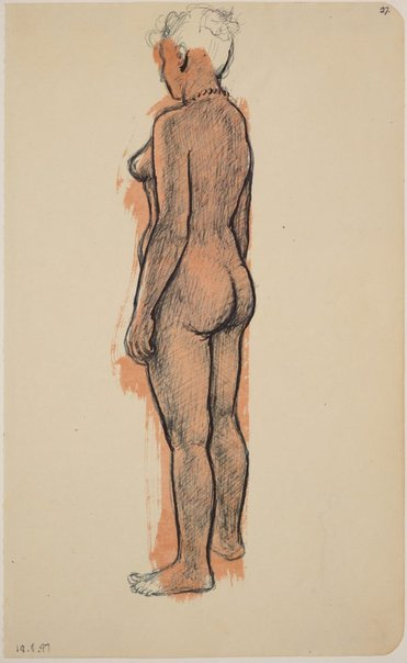 An image of Studies of the nude (Standing female nude, side view) by James Gleeson