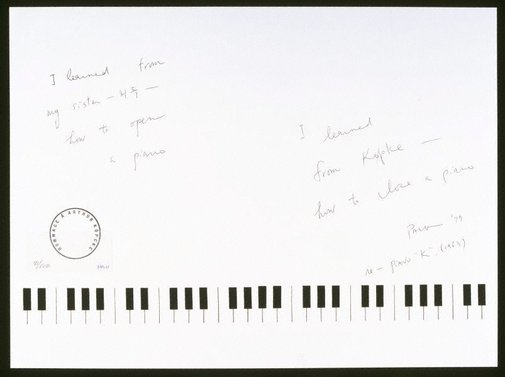 An image of I learned from my sister how to open a piano - I learned from Köpcke how to close a piano by Nam June Paik