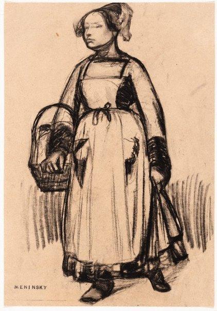 An image of Breton woman carrying a basket by Bernard Meninsky