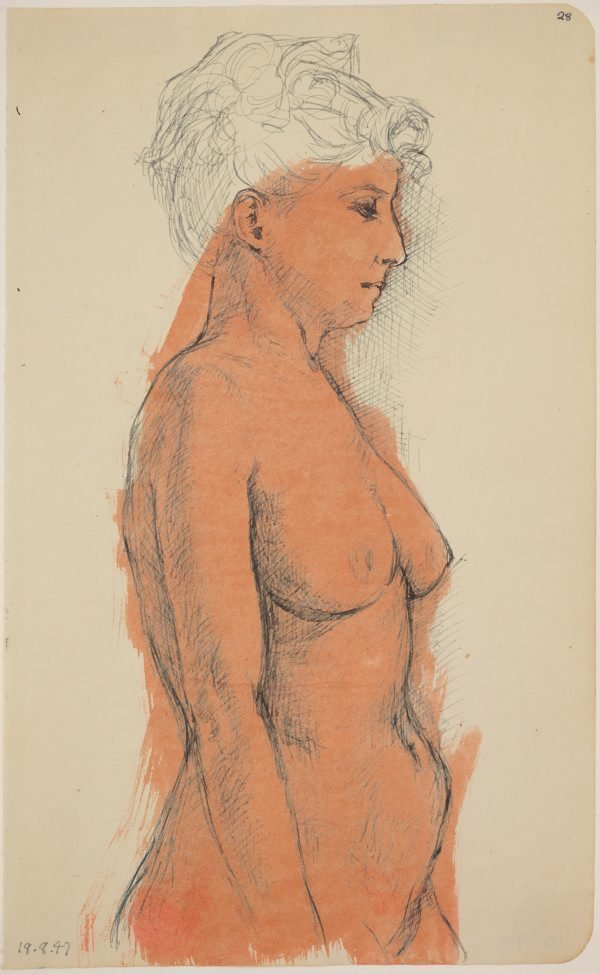 An image of Studies of the nude (Female nude, side-view upper body)