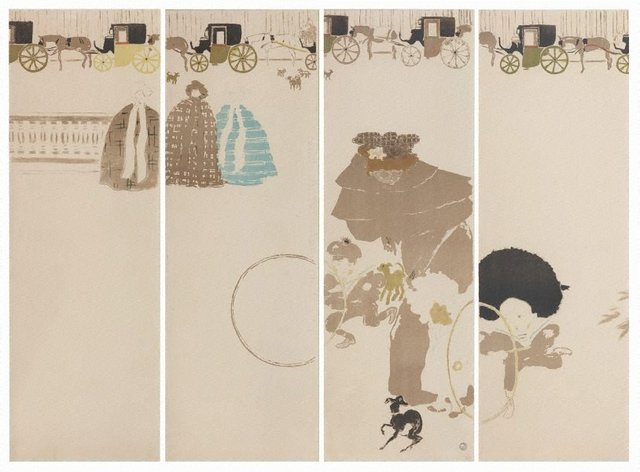 Nannies' promenade, frieze of carriages, (1895-1896) by Pierre Bonnard